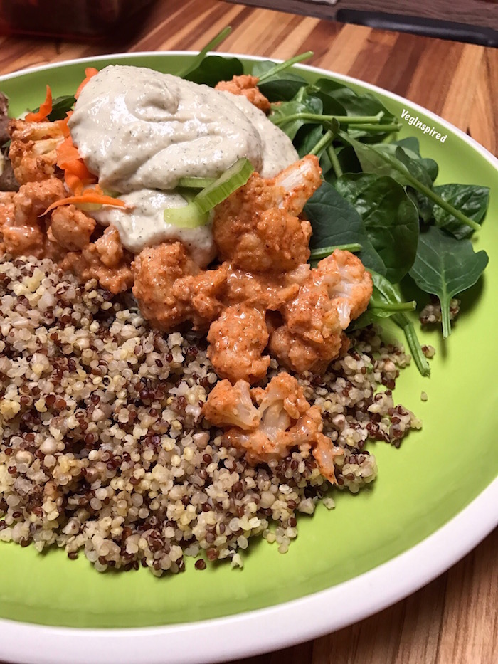 Buffalo Cauliflower Bowl with Cashew Ranch