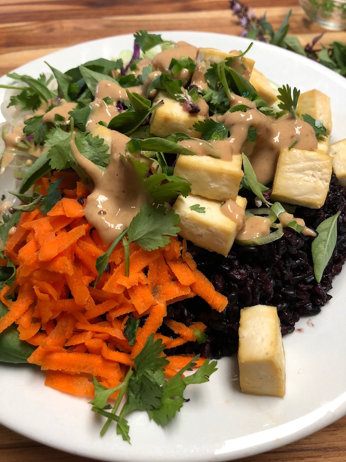 Spring Roll Salad Bowl With Oil Free Peanut Sauce Veginspired