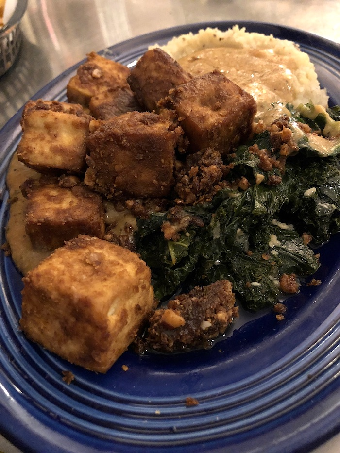 Family Favorite Meal at Rosettas Kitchen - peanut tofu, sautéed kale, and mashed potatoes and gravy