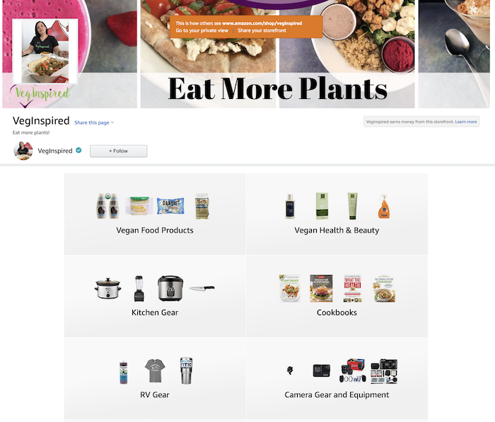 VegInspired Amazon Shop Image