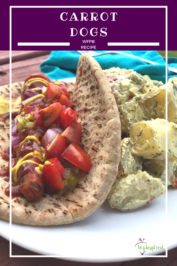 Carrot Dog on a Whole Wheat Pita with Potato Salad