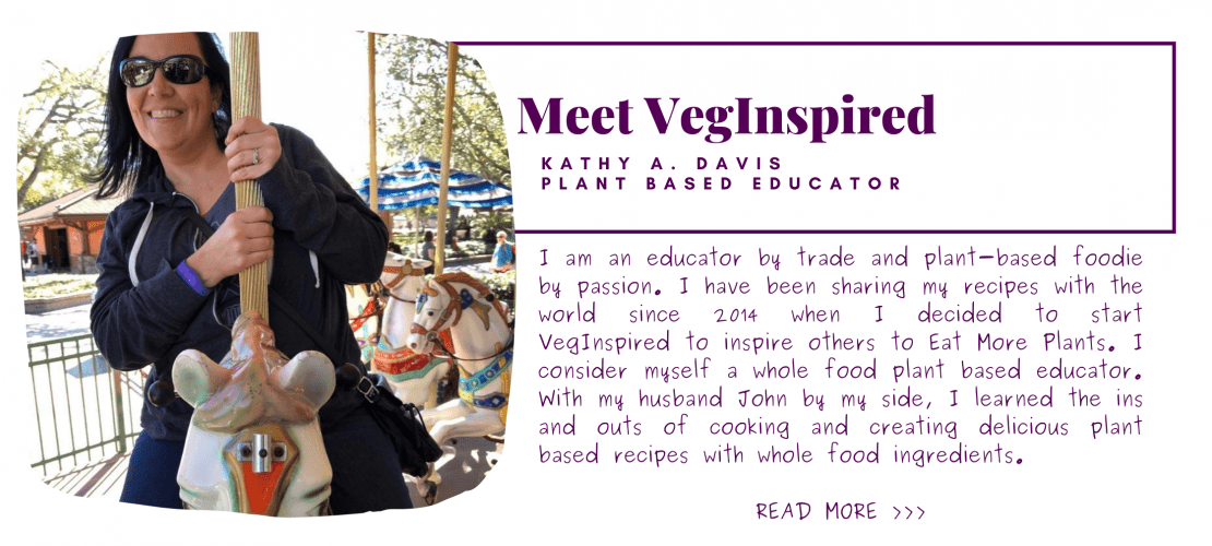 meet kathy, the creator behind VegInspired - Kathy on a merry go round.