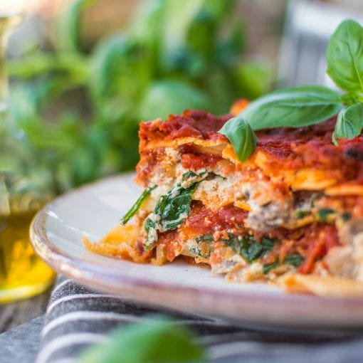 plant-based vegan lasagna on a plate on a table
